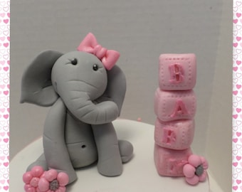 Edible Baby Girl Elephant Cake Topper