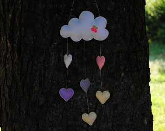 Felt baby mobile with lovely hearts