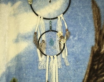 Vintage dream catcher with gray feathers 8 inch hoop