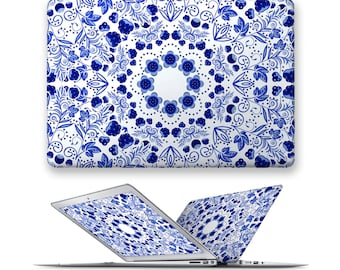 macbook case rubberized front hard cover for apple mac macbook air pro 11 12 13 15 blue pattern