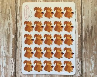 Squirrel Stickers, Woodland Critters Stickers, Erin Condren Life Planner, C-127.