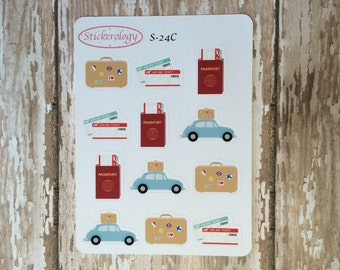 Travel Stickers, Road Trip Stickers, Suitcase Stickers, Airplane Ticket Stickers, Passport Stickers,  C-24.