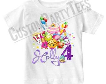 Shopkins Birthday Shirt Add Name & AGE Personalized Shopkins Birthday Shirt