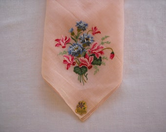 Vintage Logan Creation Handkerchief Petit Point Embroidery Easter or Wedding NOS with Tag