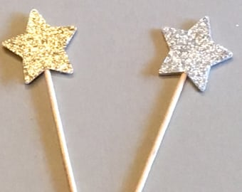 12 Star Cupcake Toppers Glitter Cupcake Toppers Baby Cupcake Toppers Birthday Cupcake Toppers Shower Cupcake Toppers Holiday Cupcake Toppers