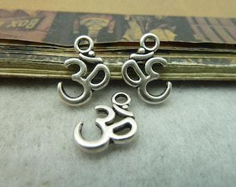 BULK 50 Tiny OM Charms AUM Charm Hinduism Hindu Buddhism Jainism Devanagari Sanskrit Religious Symbol (YT5968)