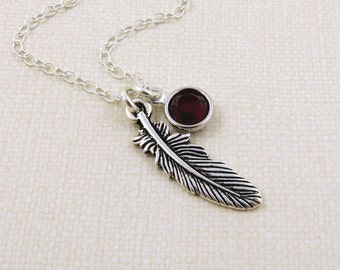 Silver Feather Necklace, Feather Charm Necklace, Personalized Feather, Birthstone Necklace, Birthstone Jewelry, Bird Feather, Tiny Feather