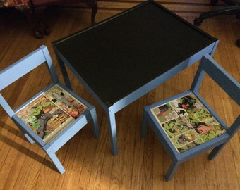 Chalkboard table & two incredible hulk chairs