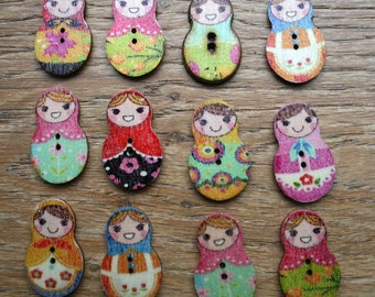 10 wooden Russian doll buttons for sewing, kids crafts, card making or scrapbooking (30x19mm)