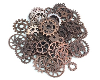 100 Steampunk Cogs Gears Machinery Mix Sizes/Designs - Antiqued Copper Bronze