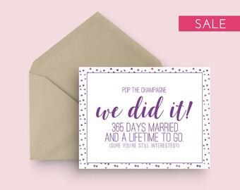 SALE: First Wedding Anniversary Card - Pop the Champagne - Purple - One Year Wedding Anniversary Card - Modern Wedding Anniversary Card