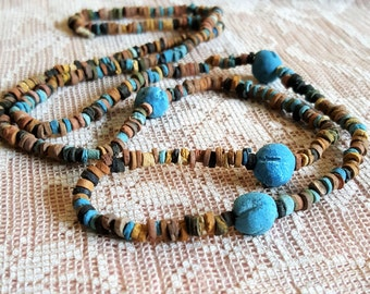 "Be Queen of the Nile with our Clay Mummy bead necklace Turquoise and earth colors 30 "" long"