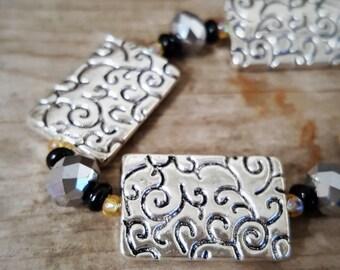 Modern Antique Silver beaded bracelet with Sparkling Czech Glass beads
