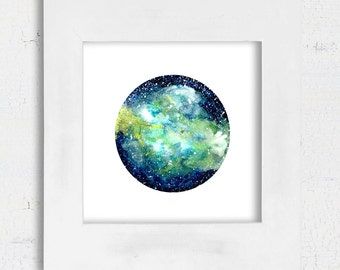 Galaxy watercolor and gouache painting printable art green blue decor digital art square print Abstract art