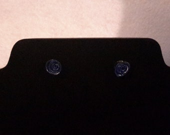 Dark blue polymer clay rose earrings
