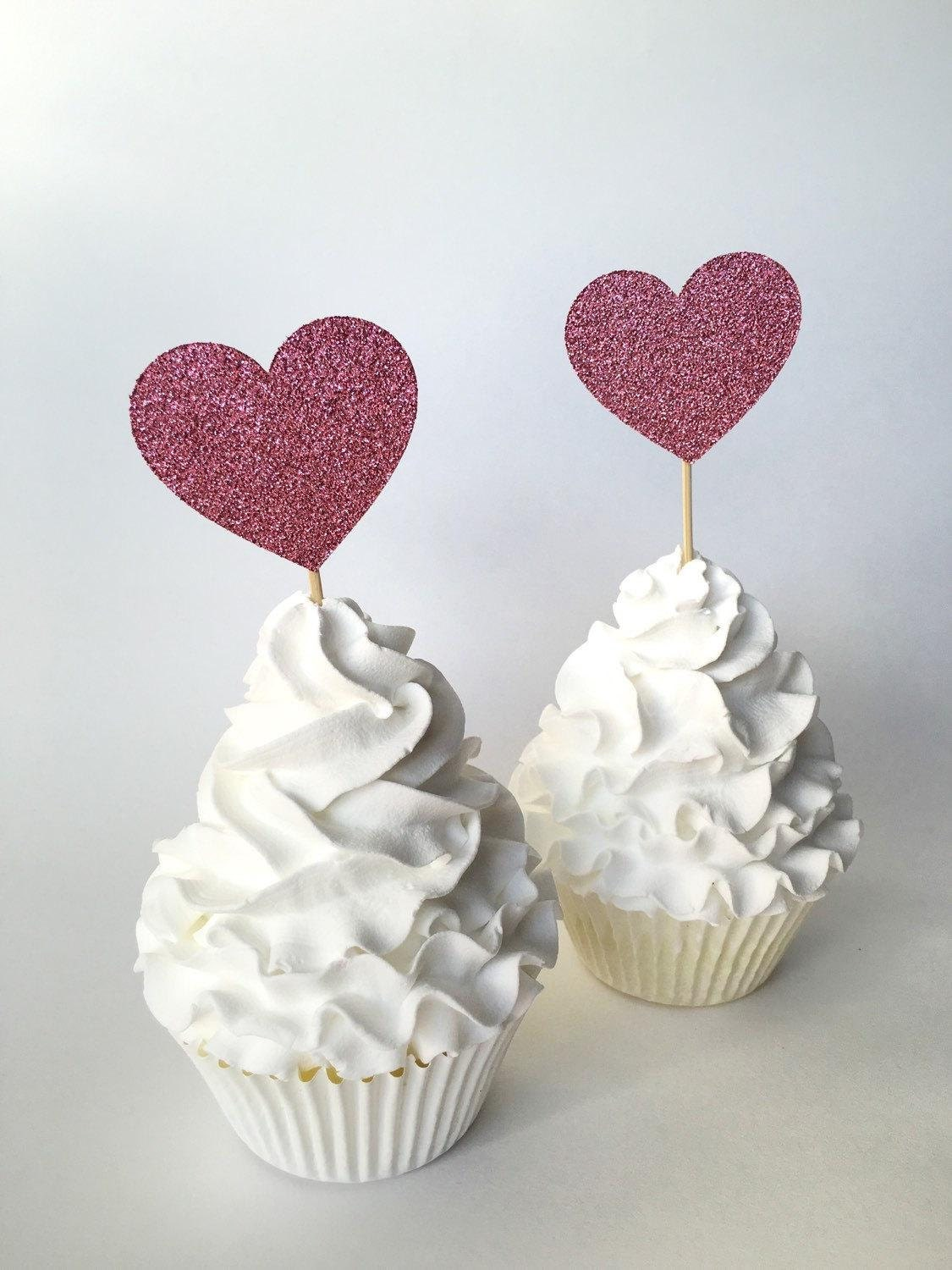 Heart Cupcake Toppers Pink Glitter Heart Toothpick 2