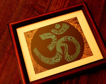 Handmade Om Sanskrit Calligraphy Wall Decor, Original Artwork // Housewarming gift // Home Decor