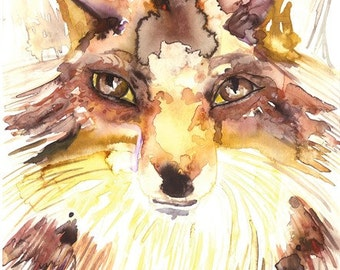 Fox Original art ,Fox Original Watercolor Painting,Fox Original Painting,Original artwork,Woodland Painting,Wildlife Art,wall art,home Décor