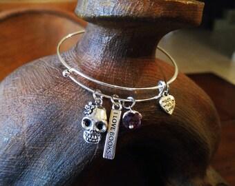 Sugar Skull Bangle Bracelet, Charm Bracelet