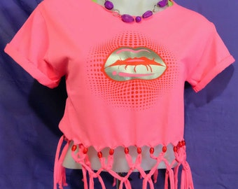 Beaded Shirt- Fringe Tee- Lip Shirt-Lip Top-Flashy Lips-Graphic Tee-Fashion Lips-Screen Printed-Silver Lips-