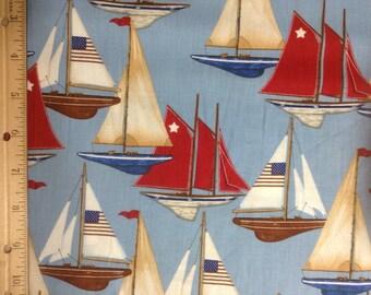 Robert Kaufman Red, White and Blue Sailboats   #D11299