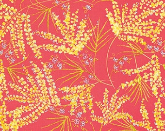 "Dena Designs FreeSpirit Cotton Fabric   ""Painted Garden""  Fern  Pink"