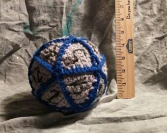 Crocheted D20 plush