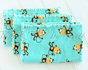 Baby Flannel Burp Cloth // Ragged Edge Burp Cloth // Set of 3 // Teal Silly Fun Monkey