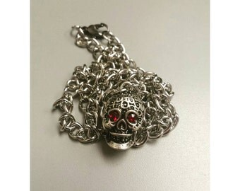 Silver sugar skull necklace, chain sugar skull necklace, dia de los muertos, day of the dead, day of the dead necklace, sugar skull necklace