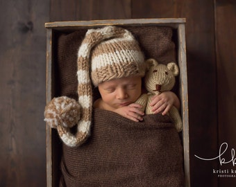 Knitted Teddy Bear - Photo Prop - Newborn Photo Prop - Soft Toy - Stuffed Animal