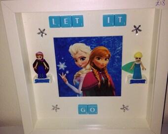 "Frozen Anna and Elsa lego compatible figures ""Let it go"" picture frame kids bedroom Disney gift Frozen gift"
