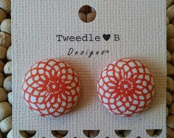 Fabric Button Earrings -  Orange Flower Swirl
