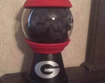 UGA Decor: candy dish, UGA faux gumball machine, GA bulldog candy dish, Ga Bulldawg candy dish, Sic' Em pet treat dish