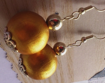 Gold Wooden Earrings