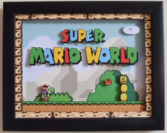 "Super Mario World (SNES) - ""Title Screen"" 3D Framed Shadow Box"
