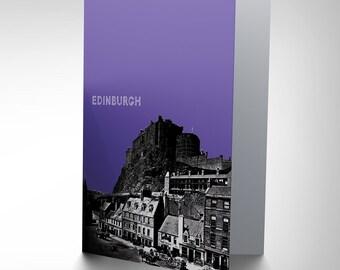Edinburgh Photo - Castle Hill Grassmarket Scotland Blank Greetings Card CP134