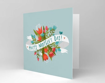 Mothers Day Card - Flowers Pretty Mum Blank Greetings Card CS380