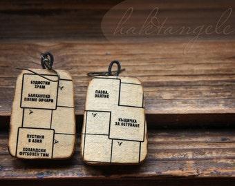 Im a crossword vintage earrings ~ Decoupage earrings ~ Vintage jewelry ~ READY TO SHIP ~