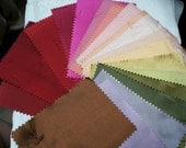 20 SILK SWATCHES - 100% Silk - Colors Reds, Pinks & a Touch of Green - For Doll Clothes, Crafts, Quilts