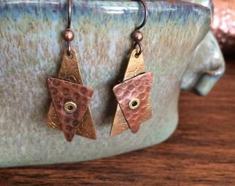 Asymmetric patterned triangle earrings