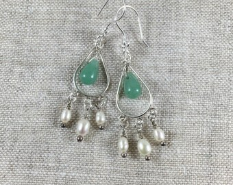 Aventurine and pearl chandeliers