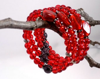 Red glass bead and silver memory wire bracelet