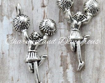 10 pewter Cheerleader charms (CM36)