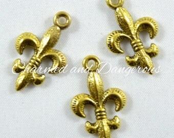 10 Gold Fleur De Lis charms (CM105)