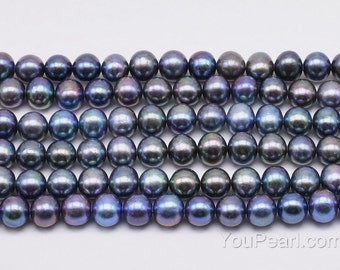 7-8mm cultured pearl, peacock black pearls, potato shape fresh water pearl beaded supply, genuine pearl jewelry, FP400-BS