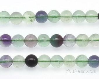 Rainbow fluorite beads, 10mm round, multi color crystal quartz stone, fluorite gemstone beads, natural gem strand, craft supplies, FLR2060