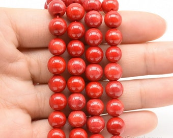 Red coral, 8mm round,, red coral gemstone strand, A grade loose coral beads, natural stone beads for ladies, wedding jewelry making, CRL2040
