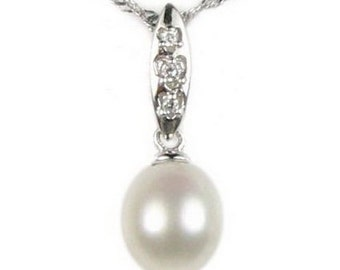White pearl pendant, sterling 925 silver freshwater pearl pendant, teardrop pearl pendant, simple pearl necklace for women, 7-8mm, F2785-WP