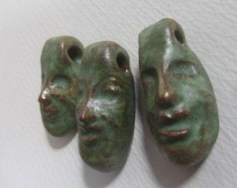 Set of 3 Green Clay Face Bead Pendants
