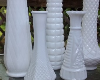 Milk glass vase lot five vintage milk glass vases shabby chic wedding decor